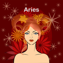 Aries.fire zodiac signs.beautiful space woman with fiery hair.Vector abstract graphic design.