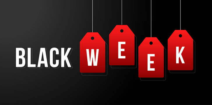 Black week vector illustration. Black week sale white tags advertising on black background vector illustration