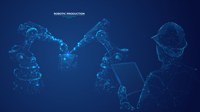 Abstract polygonal engineer holding tablet and controlling robotic arm and robotic tool. Smart technology manufacturing process in dark blue. Vector image of industrial technology, automation concept