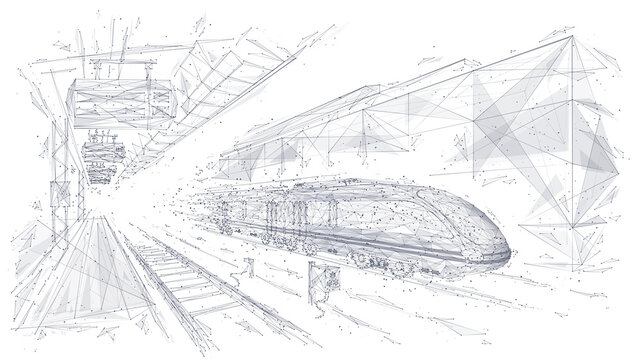 Abstract low poly 3d wireframe of modern train at railway station or metro. Vector sketch drawing with connected dots. Rapid transit system, transportation, railway logistics concept isolated in white