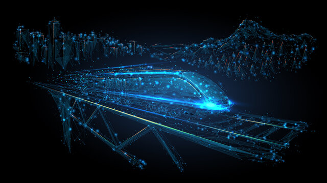 3d low poly illustration of moving high-speed train on rail bridge. Transport, travelling, logistics, tourism concept isolated in black. Abstract vector mesh with lines, dots and blue particles
