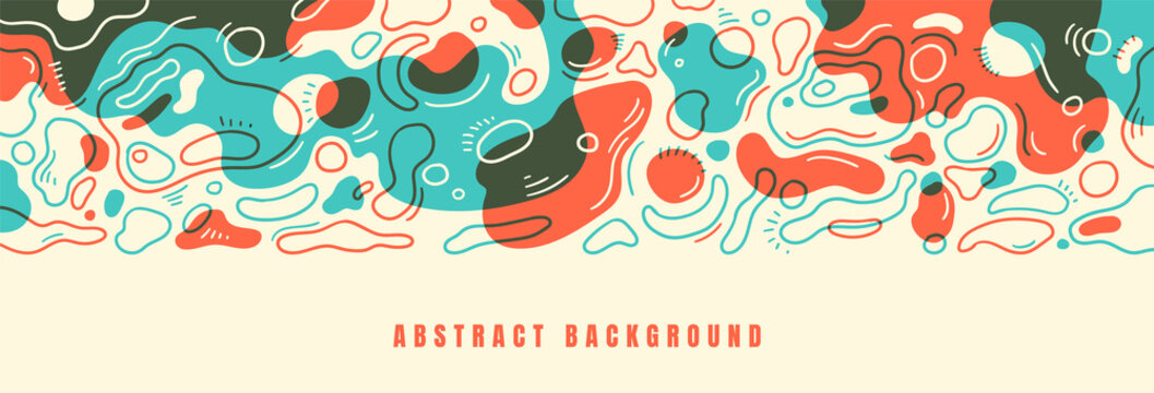 Abstract background design with various hand drawing fluid shapes in color. Vector illustration.
