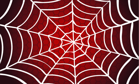 White Cobweb Red background. Vector Spider happy halloween party day fun funny spooky logo creepy horror insect hush dia 31 october fest Spiderman hallow Webbing line pattern Unlucky Accident zombie.