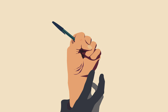 Concept of freedom of speech and information, stop censorship. Hand holding an open pen. It is dragged down by another hand. Vector Illustration with light yellow background