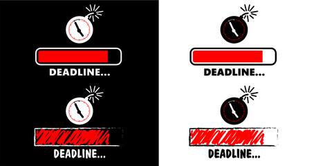 Dead line loading bar sign. Deadline loadingbar icon. Deadline day party. Flat vector loading progress. Work management service. Keep calm, speed worker. Fast time concept.