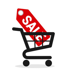 For sale - shopping cart and trolley with red tag. Discount and bargain price in the shop and store. Vector illustration isolated on white.