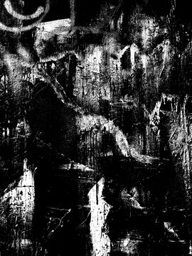 Weathered concrete wall. Rustic stone grit texture. Black stains and noise for distressed effect. Old worn vintage overlay. White paint brushed stroke. Monochrome old concrete wall background