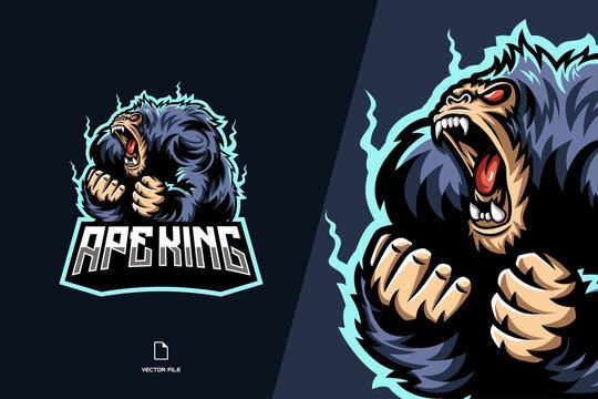 angry monkey ape mascot character cartoon logo for sport team