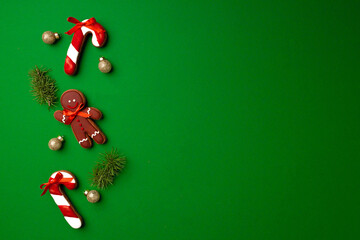 Assortment of Christmas gingerbread cookies top view