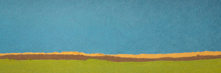 colorful abstract landscape in pastel green and blue tones - a collection of colorful handmade...