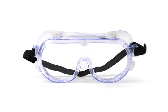 Clear safety glasses isolated on white. Safety ideas for workers or general staff