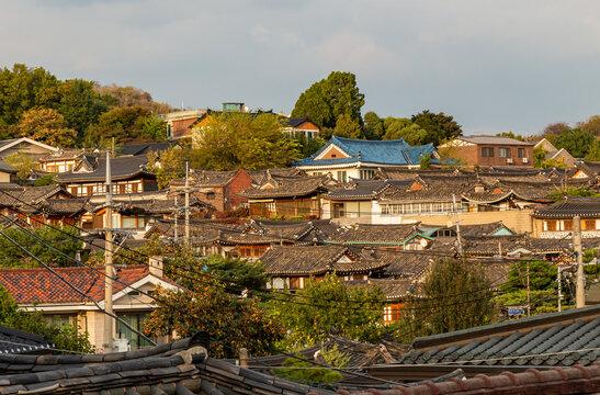 The Korean architechture in the roof tops of Bukchon Hanok Village in Seoul
