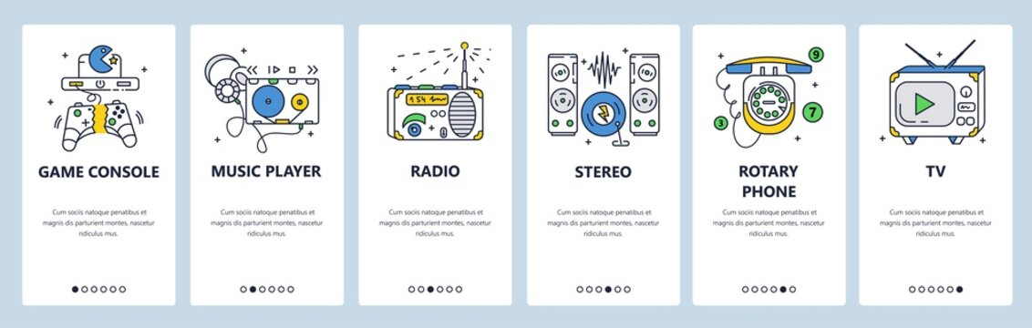 Retro electronic devices, audio equipment. Mobile app onboarding screens, vector website banner template