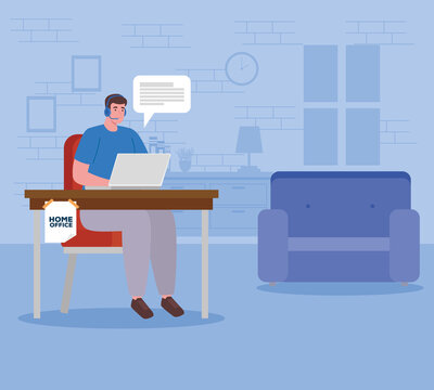 telework, agent male call center working from house vector illustration design