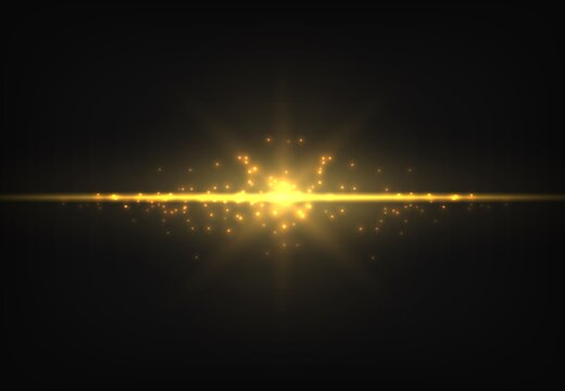 Shiny golden neon line. Magic gold glowing light effect. Luminous trail. Vector yellow shimmer ray on black background