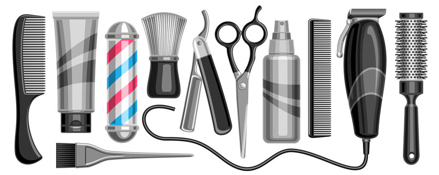 Vector set for Hair Salon and Barbershop, 11 isolated monochrome illustrations for womans and mans hair care on white background.