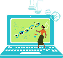 Black female professor teaching a biology class over Internet, standing on a laptop, EPS 8 vector illustration