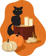 Fall and Halloween theme design with a black cat, pumpkins and candle, EPS 8 vector illustration