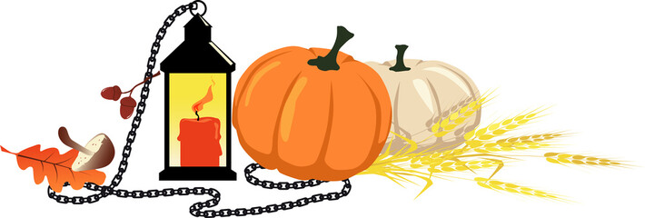 Fall harvest theme still life for a header with a pumpkin, lantern, chain and wheat, EPS 8 vector illustration