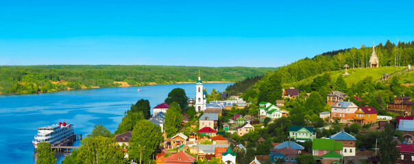 Ples, Russia. Panoramic view from Cathedral Mountain on a cute country town. Small city on the...