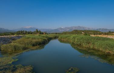 Landscape with the river Aksu stream. Güloluk, Turkey. August 2020