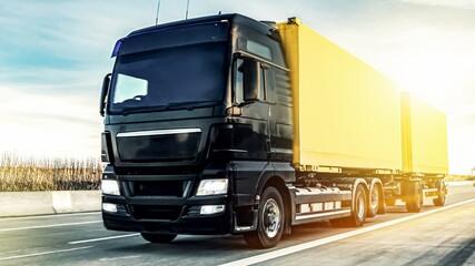 Motion blurred trucks on highway. Transportation