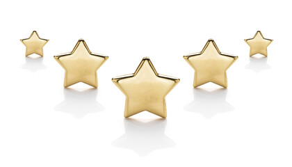 Five gold stars on a white background with reflection