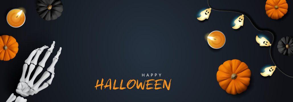 Halloween banner background with pumpkins, skeleton hand and candles vector illustration