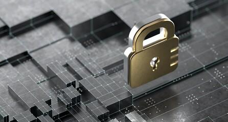 Fototapeta Credit Card Fraud Protection Cyber Security Lock