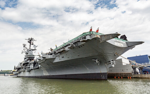 New York, USA - July 10 : Intrepid Museum at Hudson shore in New York City on July 10, 2017. USS Intrepid is one of 24 Essex-class aircraft carriers built during WWII for the US Navy.