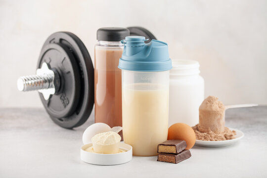 Protein sport shake, powder eggs and bar. Fitness food and drink. Diet