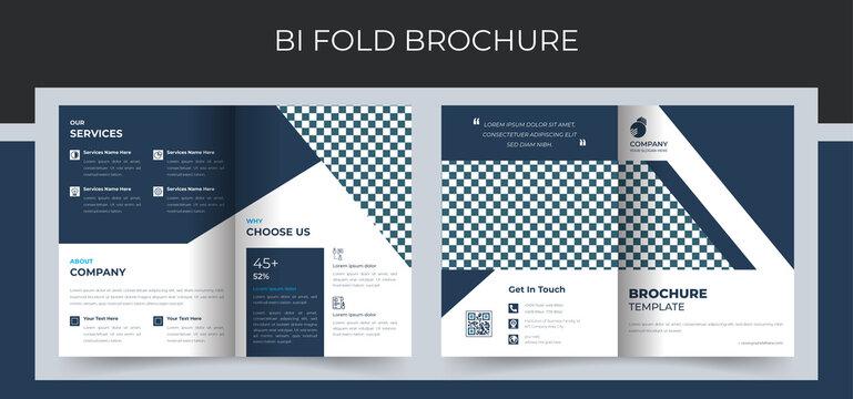 Corporate bi fold business brochure design template in a4 format. Premium Vector