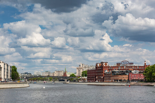 """Russia, Moscow - May 19.2017: View of the Moscow river, the Marsh island and the confectionery factory """"Red October"""""""
