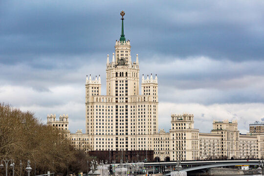 Moscow, Russia - 01 January, 2018: Kotelnicheskaya embankment, View of the high-rise building.
