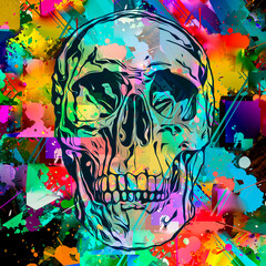 abstract colorful background with skulls