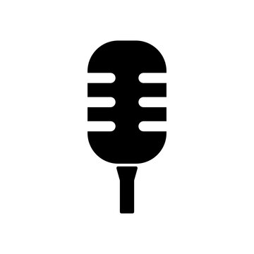 Black microphone vector on white background. Mic silhouette. Flat stye vector illustration