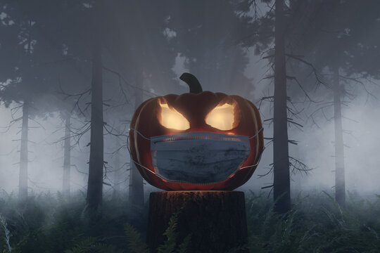 3d rendering of shiny halloween Jack-o-Lantern pumpkin covered with a face mask at foggy forest