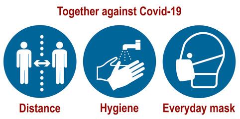 Gemeinsam gegen Covid-19.Gebotsschilder für den Coronavirus (Abstand, Hygiene, Alltagsmaske)