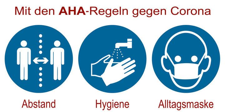 AHA (Abstand, Hygiene, Altagsmaske) Regeln gegen Corona. Gebotsschilder für Covid19