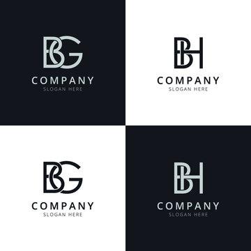 BG BH letter initial logo templates