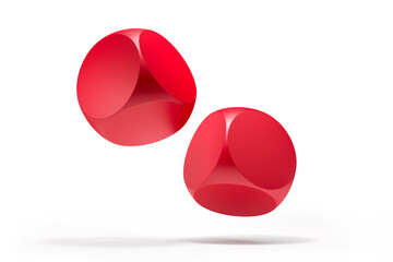 Two blank red rolling dice on white background - 3D illustration