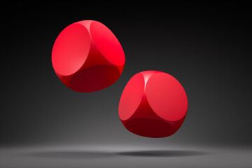 Two blank red rolling dice on dark background - 3D illustration