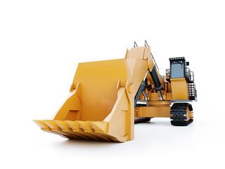 3D rendering of yellow giant crawler excavator