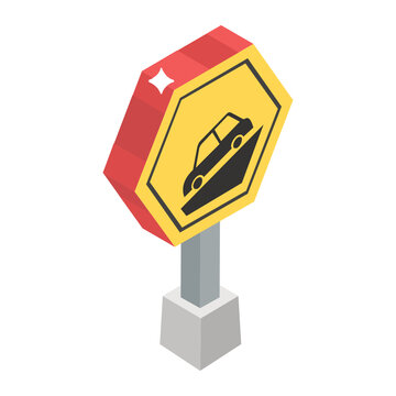 Steep hill sign board icon in isometric style