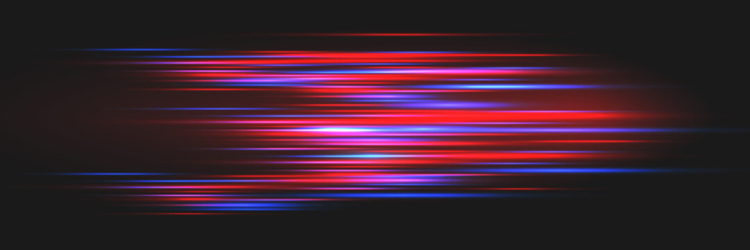 Bright glowing lines on a dark background. Optical speed concept.