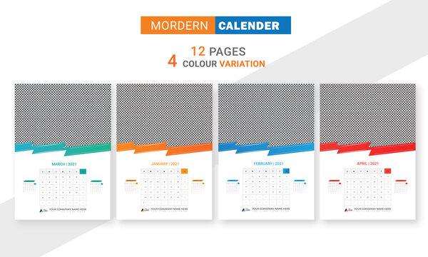 wall calendar 2021 latest calendar trendy design easy to edit4 color variation yellow blue-green calender design