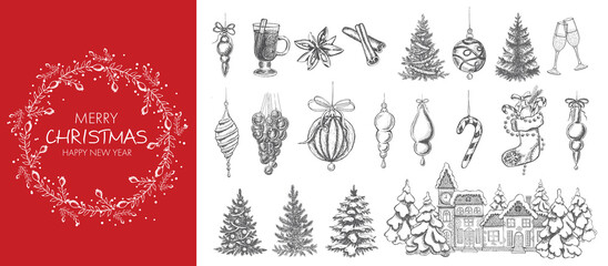 Christmas design element in doodle style. Hand drawn. Fotobehang