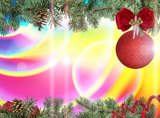 Fir tree,red shiny ball  and pinecone  on a festive background