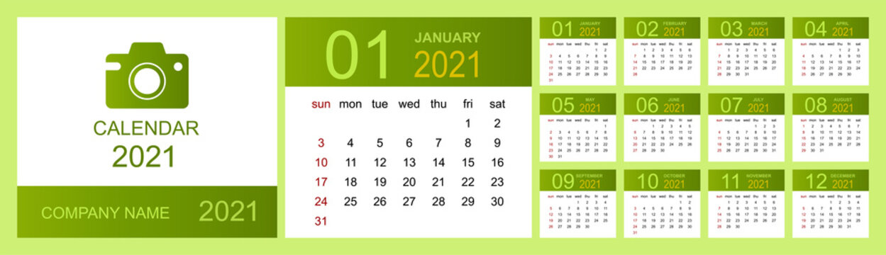 Calendar 2021, Set Desk Calendar template design with Place for Photo and Company Logo. Week Starts on Sunday. Isolated vector illustration