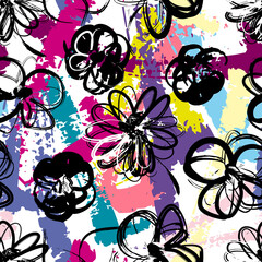 floral seamless flower pattern background, with paint strokes and splashes, vector pattern
